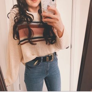 American Eagle Cozy Knit Retro Striped Sweater